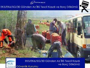 SGK EK5/EK6/5G/30 Günden Az İBS Tescil Kaydı ve Borç Dökümü